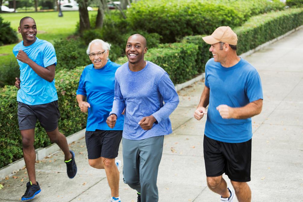 Men Jogging In Blue