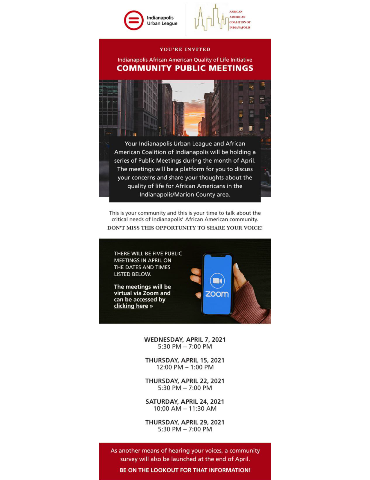 Indianapolis African American Quality Of Life Initiative Community Public Meetings Flyer (1)